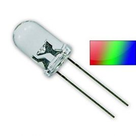 LED 3 Color 2 Pin Water Clear 5mm RGB -100Pcs