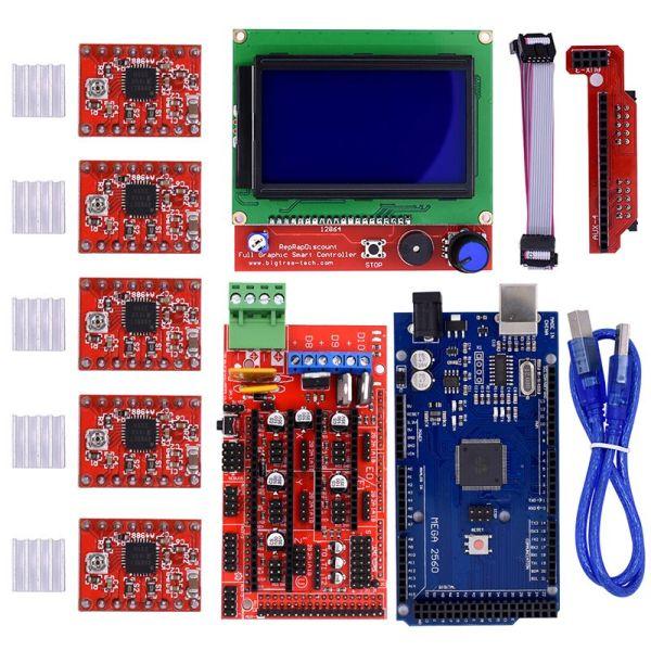 3D Printer Kit RAMPS 1 4+ Mega 2560 + 5* A4988 LCD 128*64