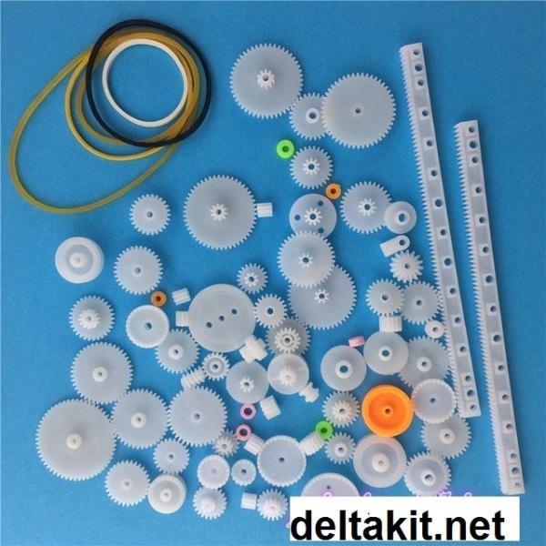75 Pcs Plastic Gear Set DIY Belt Pulley Worm Belt Single Double Gears Set