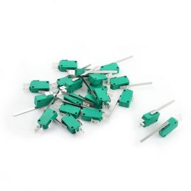 SPDT Momentary 3 Pins Long Lever Limit Micro Switch Green AC250/125V 16A-10Pcs